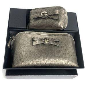 Coach Gunmetal Turnlock Bow Cosmetic Bag Box Set